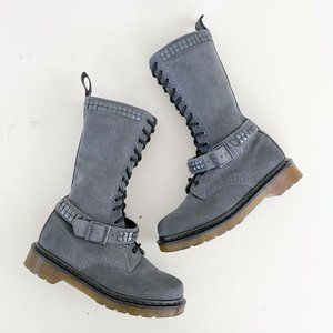 Dr. Martens Janice Studded Tall Boots Grey Suede